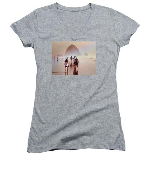 Summer At The Seashore  Women's V-Neck T-Shirt (Junior Cut) by Micki Findlay