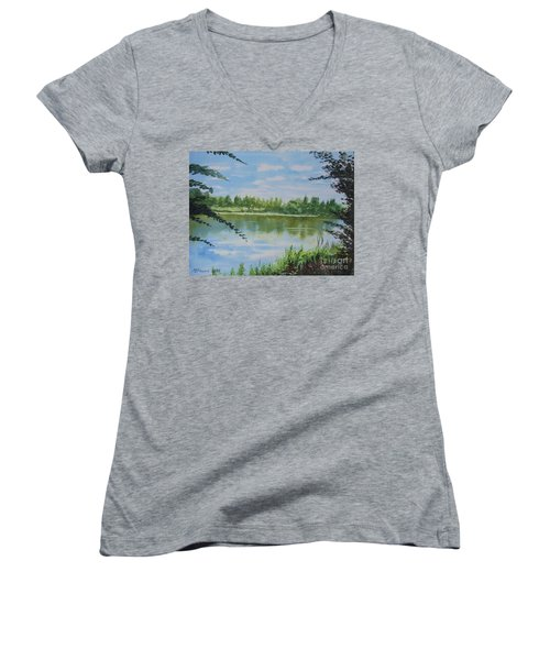 Summer By The River Women's V-Neck (Athletic Fit)
