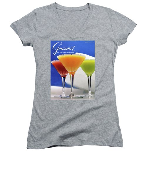 Summer Cocktails Women's V-Neck T-Shirt (Junior Cut) by Romulo Yanes