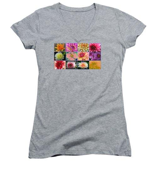 Summer Time Dahlias Women's V-Neck T-Shirt (Junior Cut) by Dora Sofia Caputo Photographic Art and Design