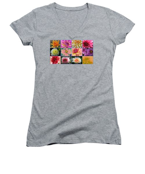 Summer Time Dahlias Women's V-Neck T-Shirt (Junior Cut)