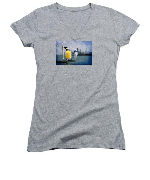 Summer Day Women's V-Neck T-Shirt (Junior Cut) by Milena Ilieva