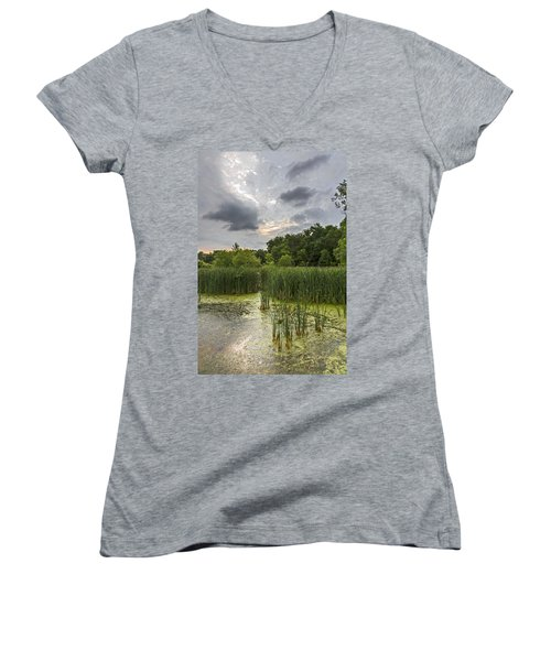 Summer Evening Clouds Women's V-Neck (Athletic Fit)