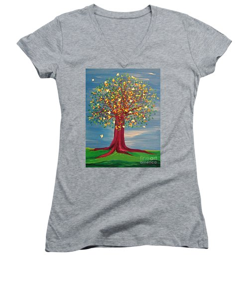 Summer Fantasy Tree Women's V-Neck (Athletic Fit)