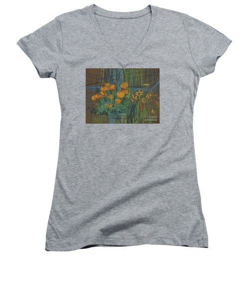 Women's V-Neck T-Shirt (Junior Cut) featuring the painting Summer Flowers by Donald Maier