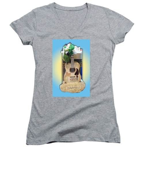 Summer Guitar Women's V-Neck T-Shirt (Junior Cut) by Barbara McDevitt