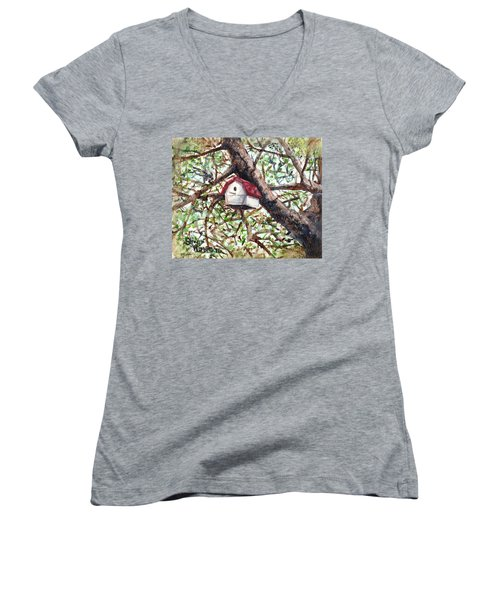 Women's V-Neck T-Shirt (Junior Cut) featuring the painting Summer Home by Shana Rowe Jackson