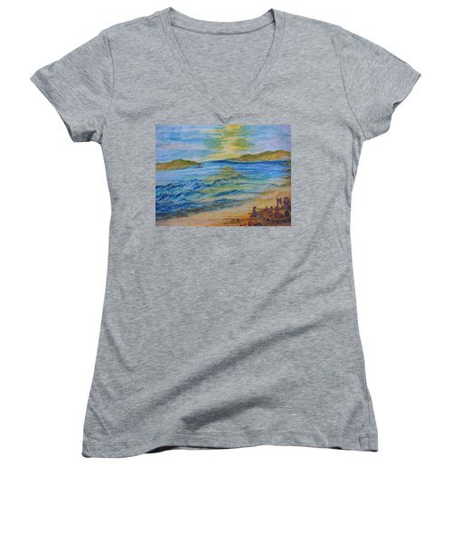 Women's V-Neck T-Shirt (Junior Cut) featuring the painting Summer/ North Wales  by Teresa White
