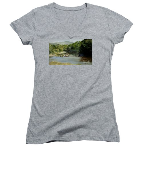 Summer On The River In Vermont Women's V-Neck
