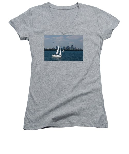 Summer Sailing Postcard From Toronto Women's V-Neck