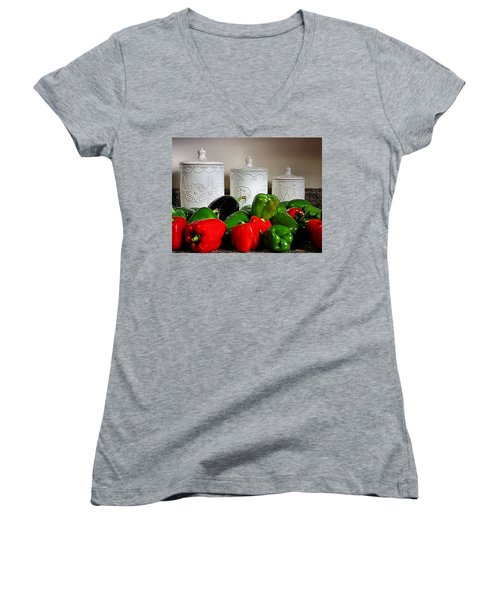 Summer Still Life Women's V-Neck T-Shirt (Junior Cut) by Kristin Elmquist