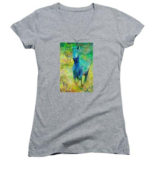 Summer Storm Women's V-Neck T-Shirt (Junior Cut) by Greg Collins