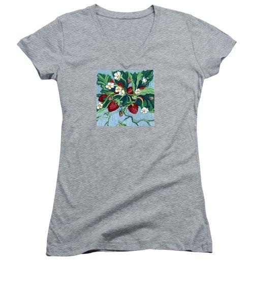 Summer Strawberries Women's V-Neck