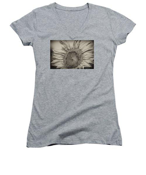 Women's V-Neck T-Shirt (Junior Cut) featuring the photograph Summer Sunflower by Wilma  Birdwell