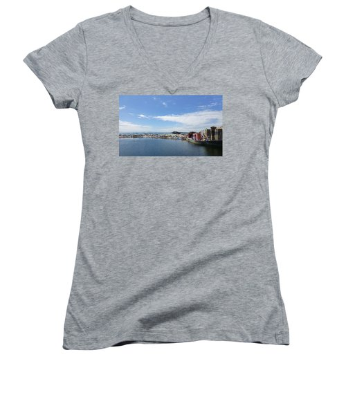 Summers End Capitola Beach Women's V-Neck T-Shirt (Junior Cut) by Amelia Racca