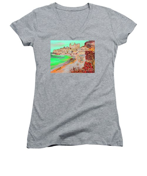 Summertime In Cefalu' Women's V-Neck T-Shirt (Junior Cut) by Loredana Messina