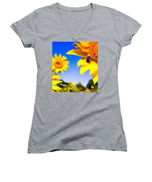 Summertime Sunflowers Women's V-Neck T-Shirt
