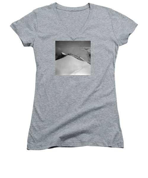 T-702412-bw-summit Of Mt. Robson Women's V-Neck T-Shirt