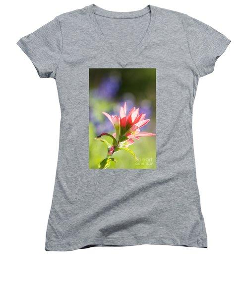 Sun Filled Paintbrush Women's V-Neck T-Shirt (Junior Cut) by Erika Weber