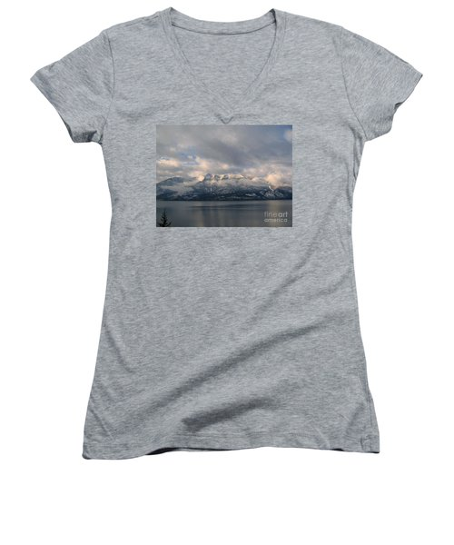 Sun On The Mountains Women's V-Neck (Athletic Fit)