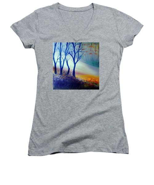 Women's V-Neck T-Shirt (Junior Cut) featuring the painting Sun Ray In Blue  by Lilia D