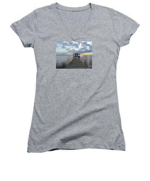 Sun Rays On The Lake Women's V-Neck T-Shirt (Junior Cut) by Cynthia Guinn