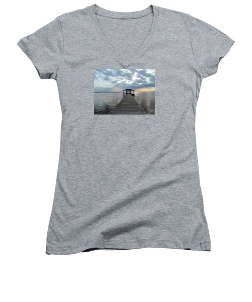 Sun Rays On The Lake Women's V-Neck (Athletic Fit)