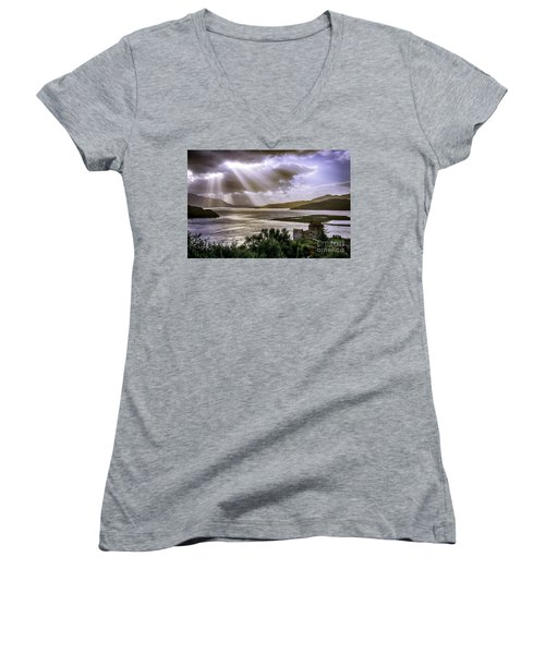 Sun Rays Over Eilean Donan Castle Women's V-Neck T-Shirt