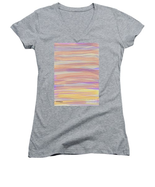 Women's V-Neck T-Shirt (Junior Cut) featuring the digital art Abstract Sun Sea And Sand by Linsey Williams