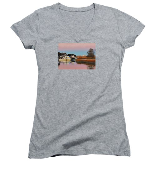 Women's V-Neck T-Shirt (Junior Cut) featuring the photograph Sun Setting At Murrells Inlet by Kathy Baccari