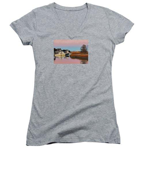 Sun Setting At Murrells Inlet Women's V-Neck T-Shirt (Junior Cut)