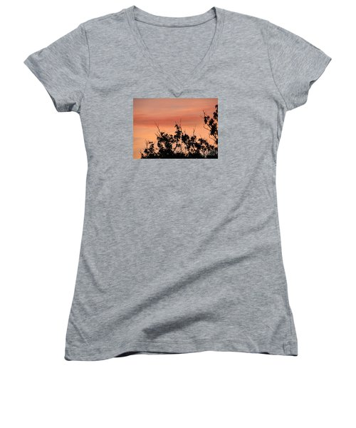 Women's V-Neck T-Shirt (Junior Cut) featuring the photograph Sun Up Silhouette by Joy Hardee