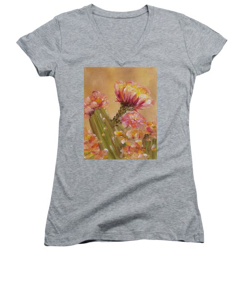Women's V-Neck T-Shirt featuring the painting Sun Worshipper by Judith Rhue