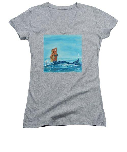 Sunbathing Mermaid Women's V-Neck T-Shirt (Junior Cut) by Leslie Allen