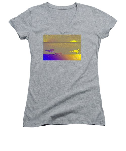 Women's V-Neck T-Shirt (Junior Cut) featuring the photograph Sunbird by Ecinja Art Works