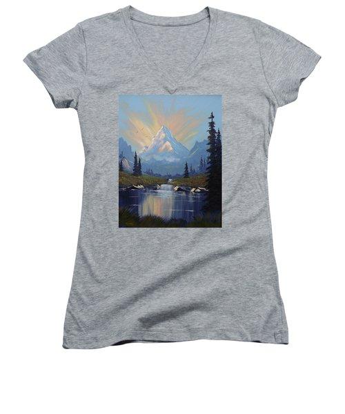 Sunburst Landscape Women's V-Neck T-Shirt (Junior Cut) by Richard Faulkner