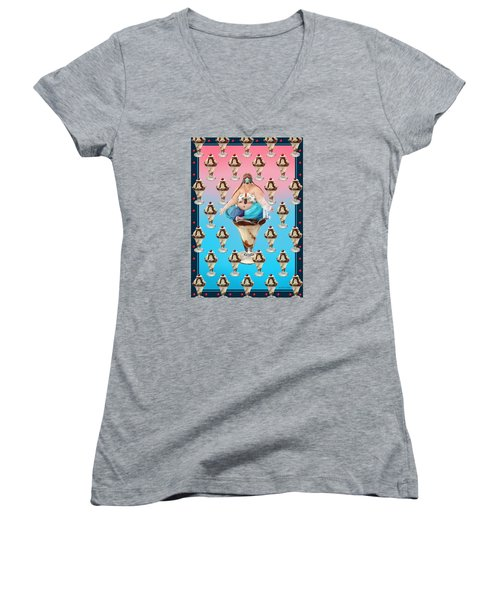 Women's V-Neck T-Shirt (Junior Cut) featuring the digital art Sundae Girl by Scott Ross