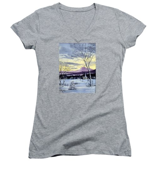 Women's V-Neck T-Shirt (Junior Cut) featuring the painting Sunday In Winter by Lee Piper