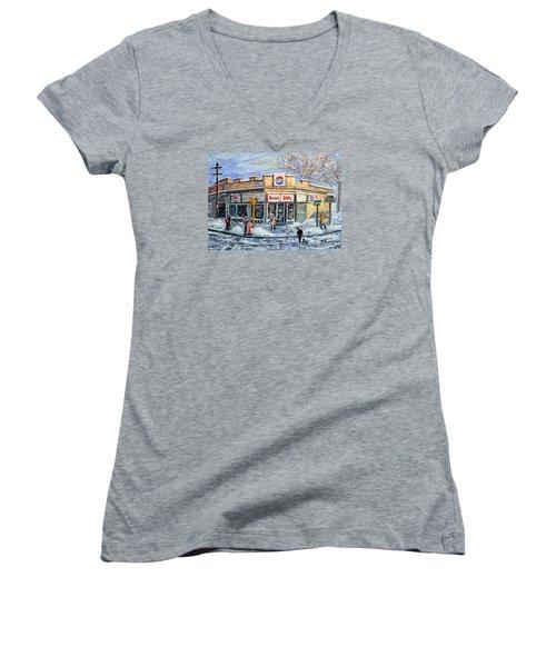 Sunday Morning At Renie's Spa Women's V-Neck T-Shirt (Junior Cut) by Rita Brown
