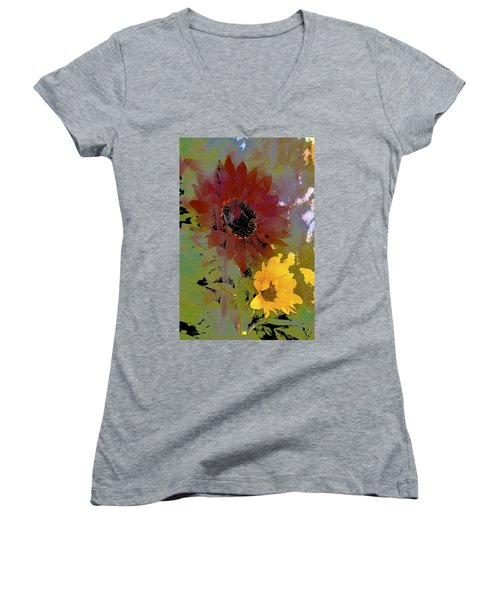 Sunflower 33 Women's V-Neck T-Shirt (Junior Cut) by Pamela Cooper