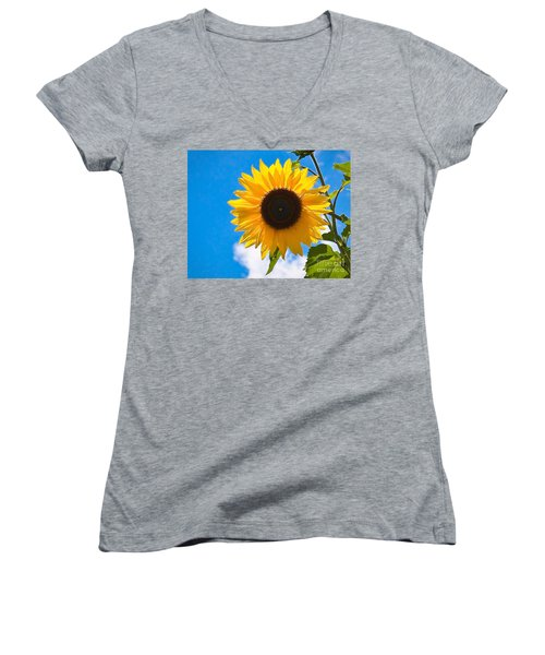 Sunflower And Bee At Work Women's V-Neck (Athletic Fit)