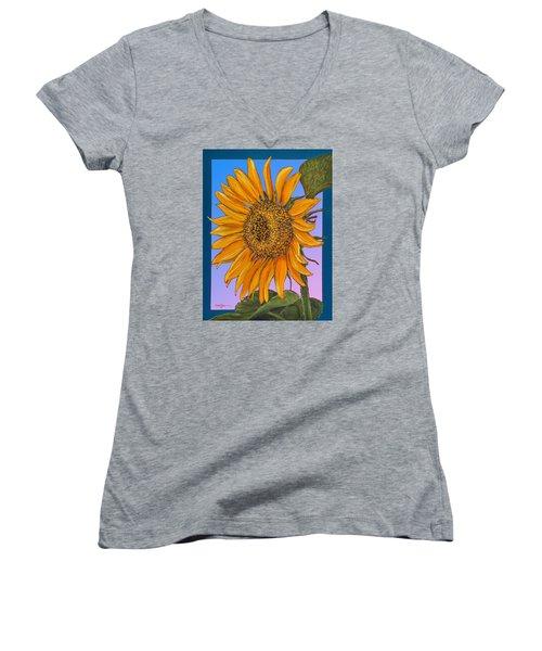 Da154 Sunflower By Daniel Adams Women's V-Neck