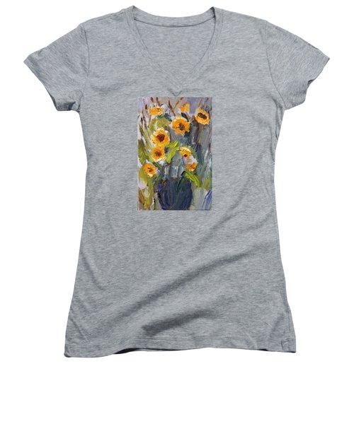 Sunflower Bouquet Women's V-Neck (Athletic Fit)
