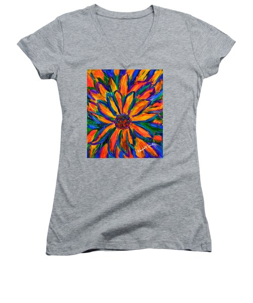 Sunflower Burst Women's V-Neck