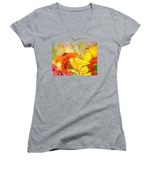 Women's V-Neck T-Shirt (Junior Cut) featuring the painting Sunflower Detail by Ana Maria Edulescu
