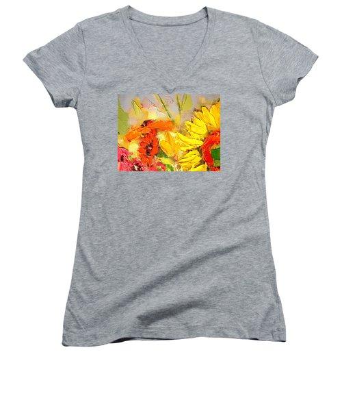 Sunflower Detail Women's V-Neck T-Shirt (Junior Cut) by Ana Maria Edulescu