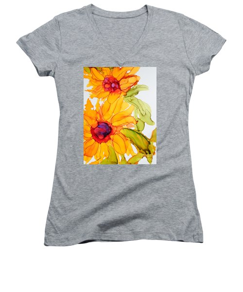 Sunflower Duo Women's V-Neck (Athletic Fit)