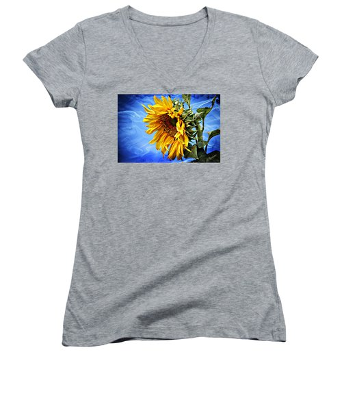 Women's V-Neck T-Shirt (Junior Cut) featuring the photograph Sunflower Fantasy by Barbara Chichester