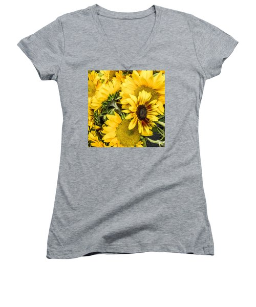 Sunflower Glow Women's V-Neck (Athletic Fit)