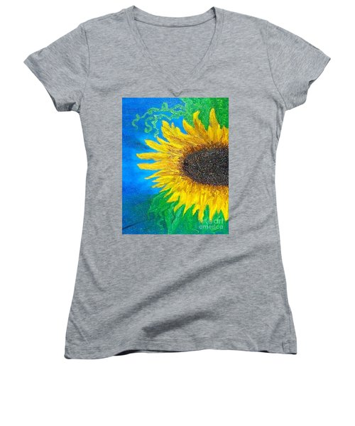Sunflower Women's V-Neck T-Shirt (Junior Cut) by Holly Martinson